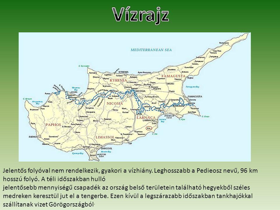 Vízrajz Jelentős folyóval nem rendelkezik, gyakori a vízhiány. Leghosszabb a Pedieosz nevű, 96 km hosszú folyó. A téli időszakban hulló.