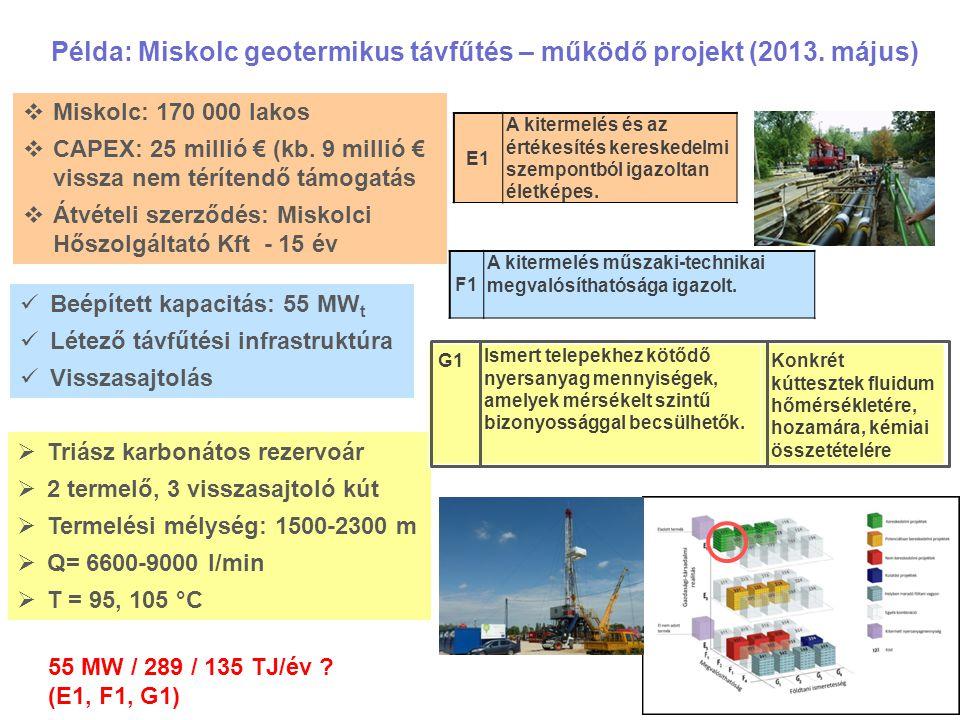 Példa: Miskolc geotermikus távfűtés – működő projekt (2013. május)