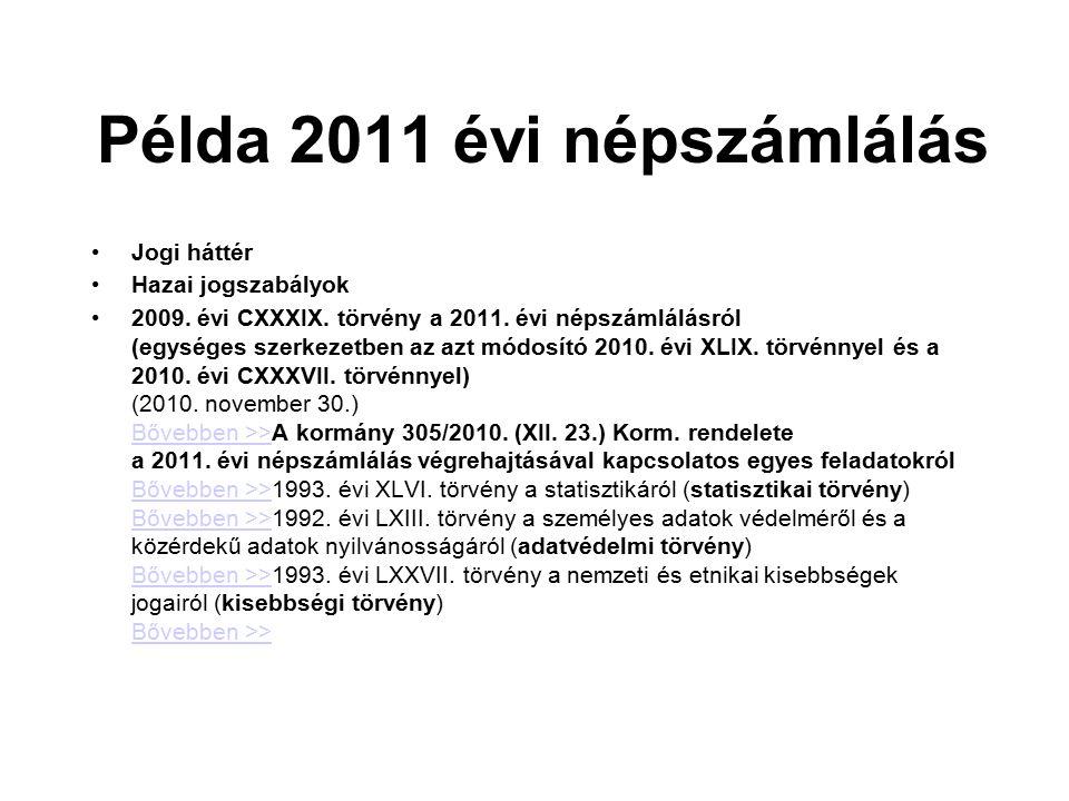 Példa 2011 évi népszámlálás