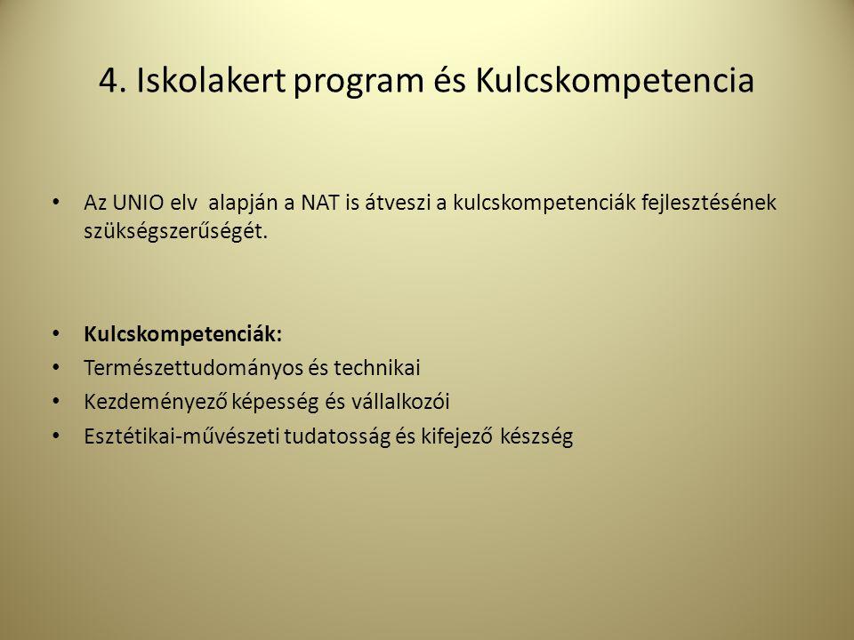 4. Iskolakert program és Kulcskompetencia