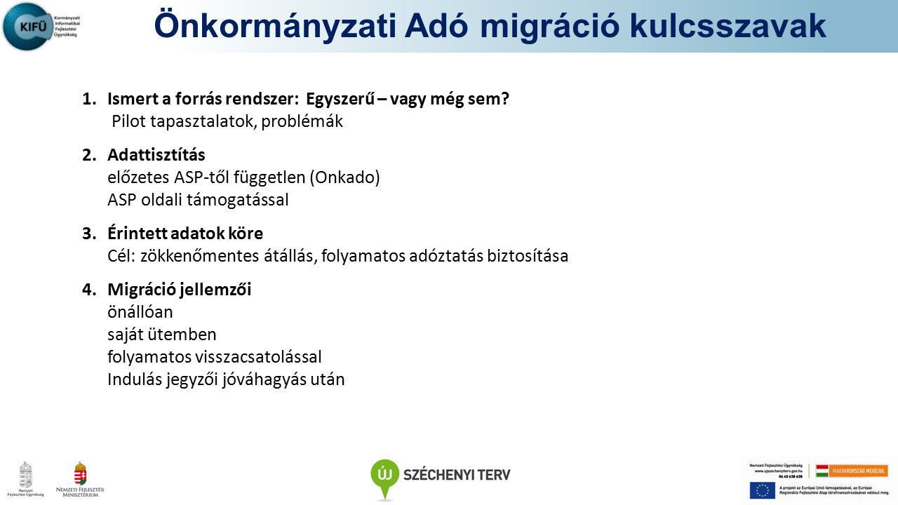 Önkormányzati Adó migráció kulcsszavak