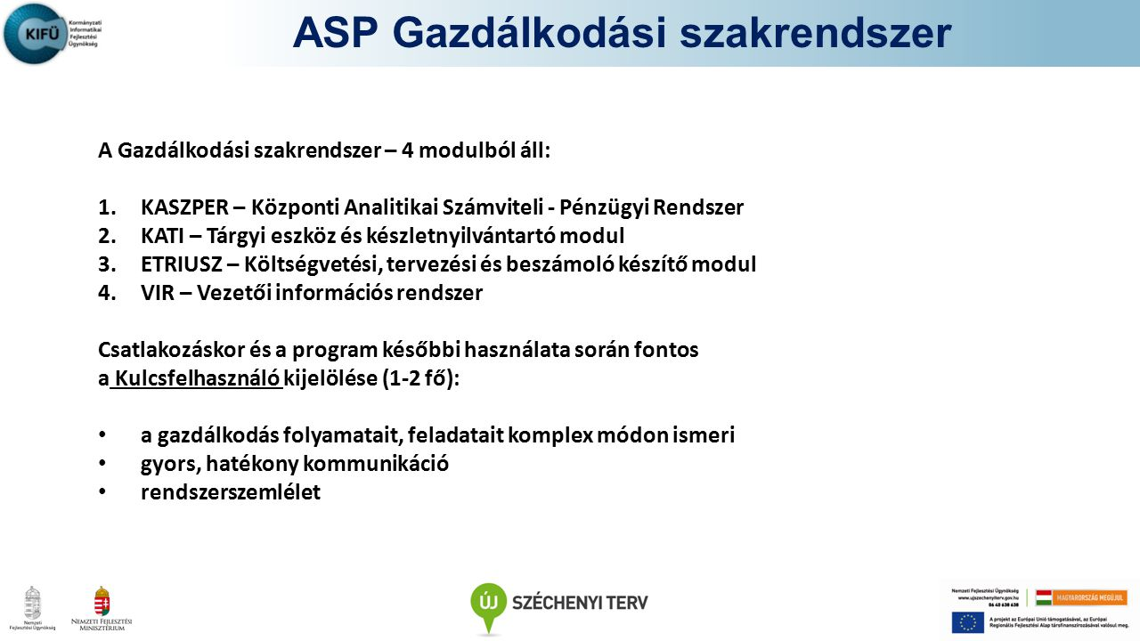 ASP Gazdálkodási szakrendszer