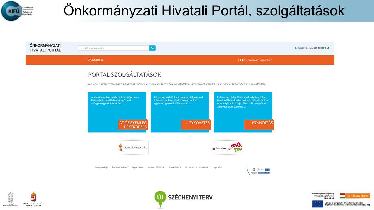 Önkormányzati Hivatali Portál, szolgáltatások