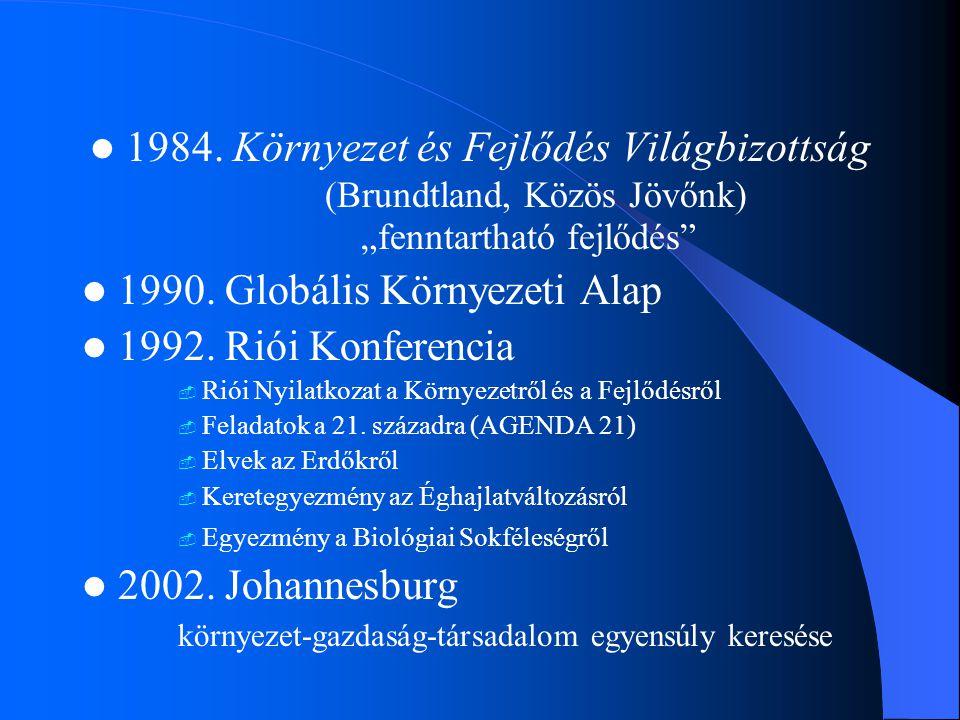 1990. Globális Környezeti Alap 1992. Riói Konferencia