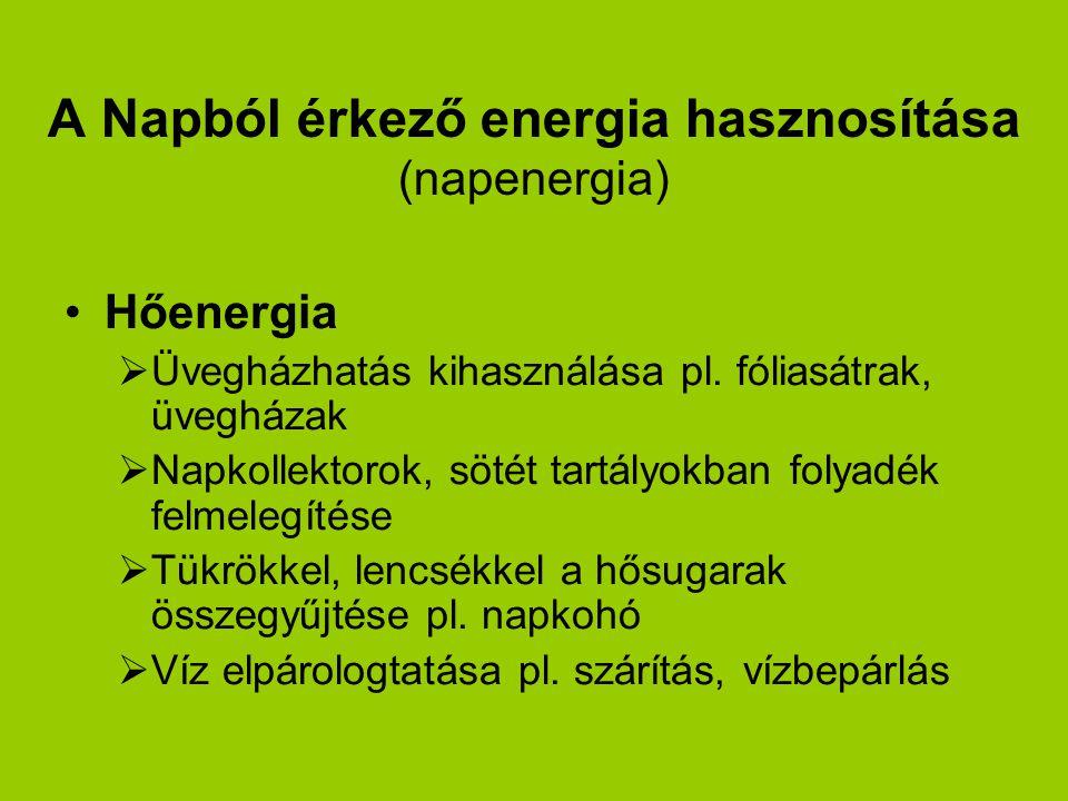 A Napból érkező energia hasznosítása (napenergia)