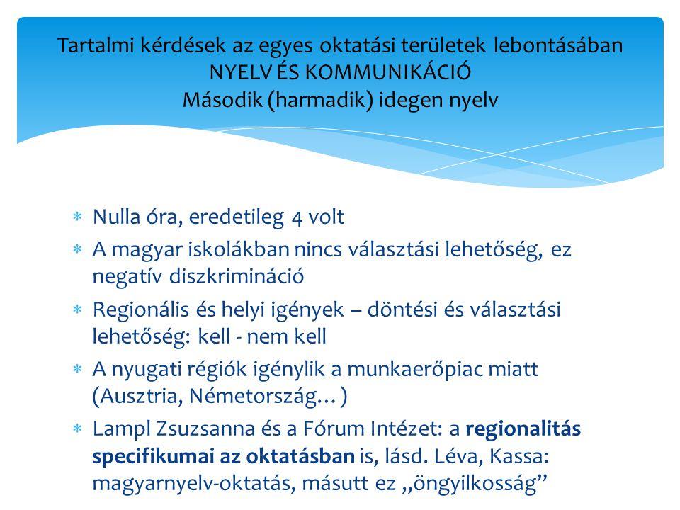 Tartalmi kérdések az egyes oktatási területek lebontásában NYELV ÉS KOMMUNIKÁCIÓ Második (harmadik) idegen nyelv
