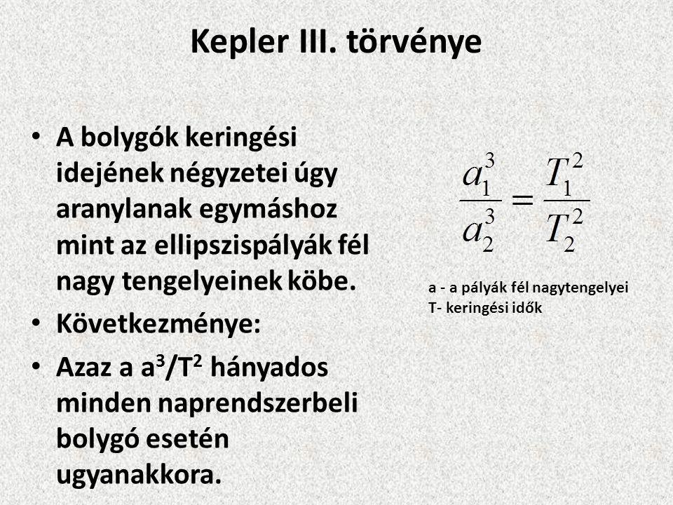 Kepler III. törvénye A bolygók keringési idejének négyzetei úgy aranylanak egymáshoz mint az ellipszispályák fél nagy tengelyeinek köbe.