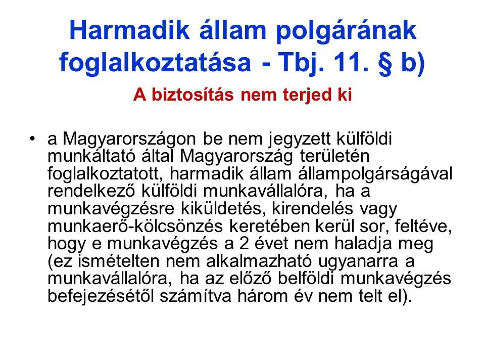 Harmadik állam polgárának foglalkoztatása - Tbj. 11. § b)