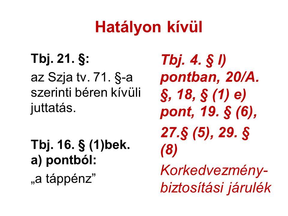 Hatályon kívül Tbj. 21. §: az Szja tv. 71. §-a szerinti béren kívüli juttatás. Tbj. 16. § (1)bek. a) pontból: