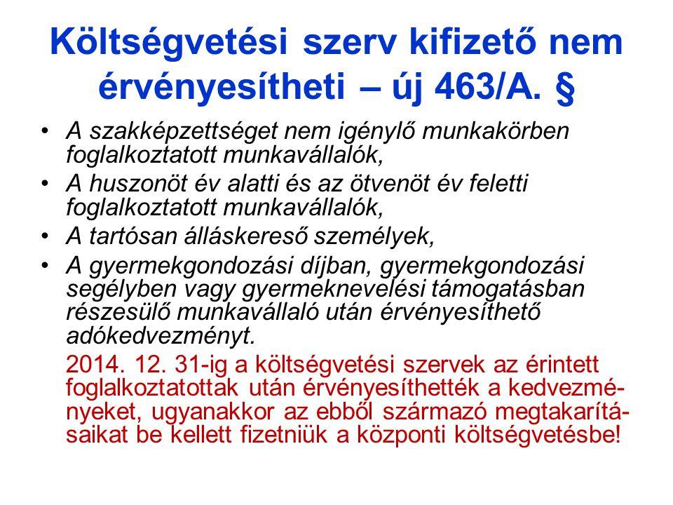 Költségvetési szerv kifizető nem érvényesítheti – új 463/A. §