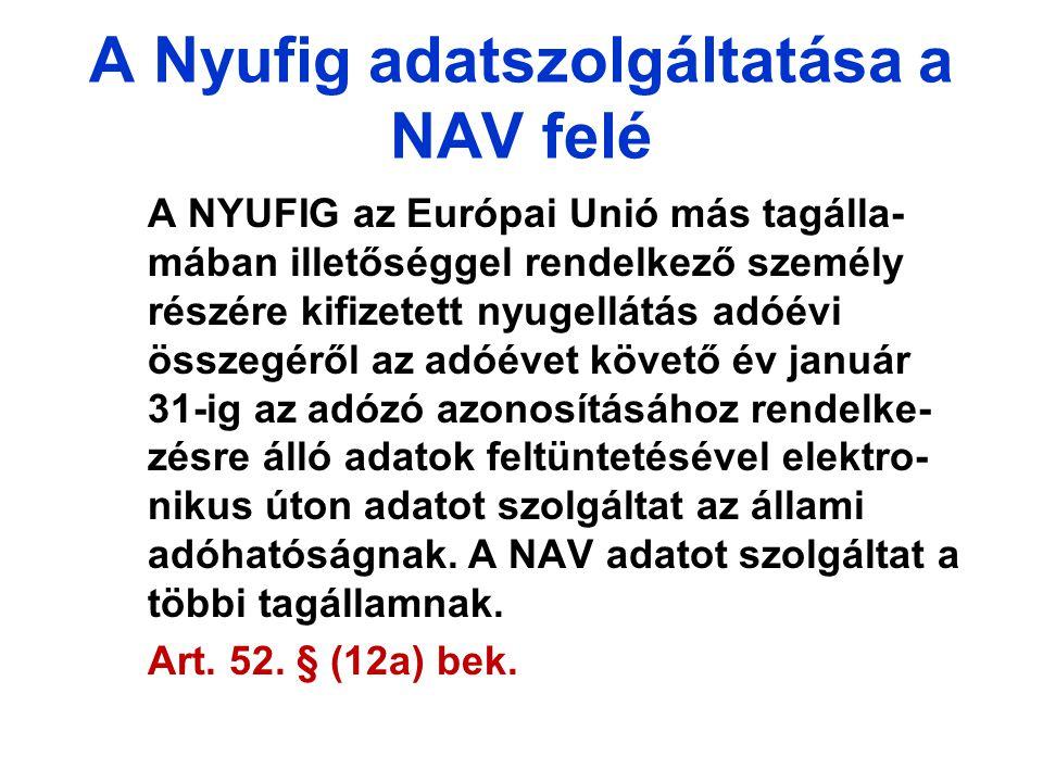 A Nyufig adatszolgáltatása a NAV felé