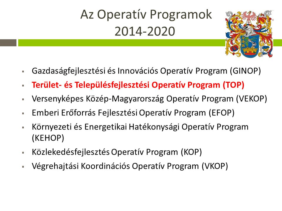 Az Operatív Programok 2014-2020
