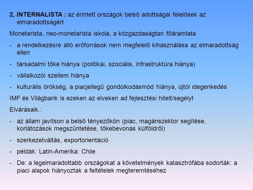 2, INTERNALISTA : az érintett országok belső adottságai felelősek az elmaradottságért