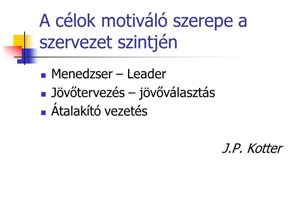 A célok motiváló szerepe a szervezet szintjén