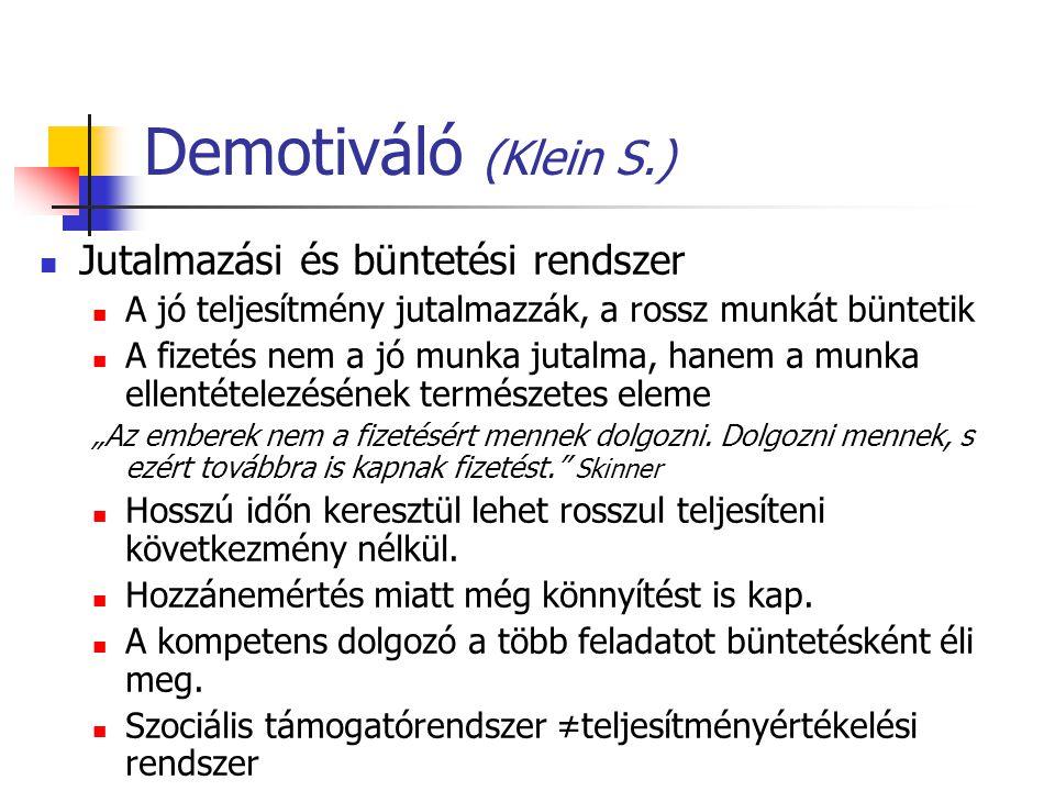 Demotiváló (Klein S.) Jutalmazási és büntetési rendszer