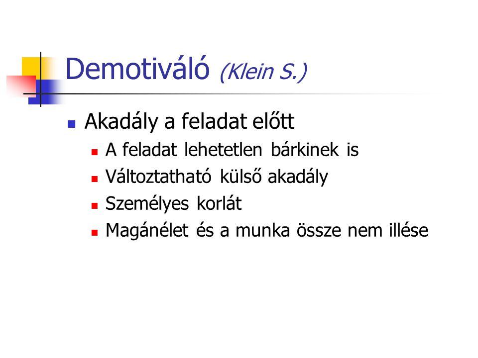 Demotiváló (Klein S.) Akadály a feladat előtt
