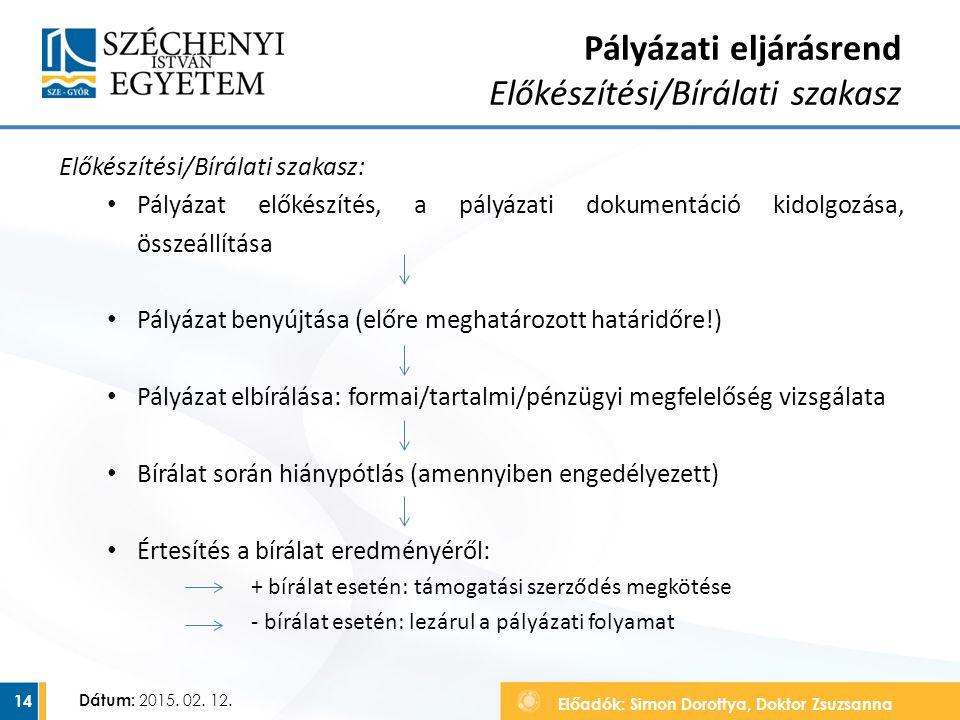Pályázati eljárásrend Előkészítési/Bírálati szakasz