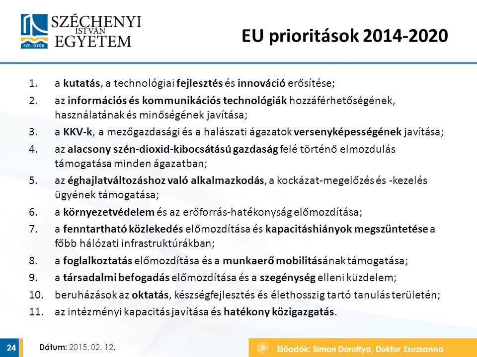 EU prioritások 2014-2020 a kutatás, a technológiai fejlesztés és innováció erősítése;