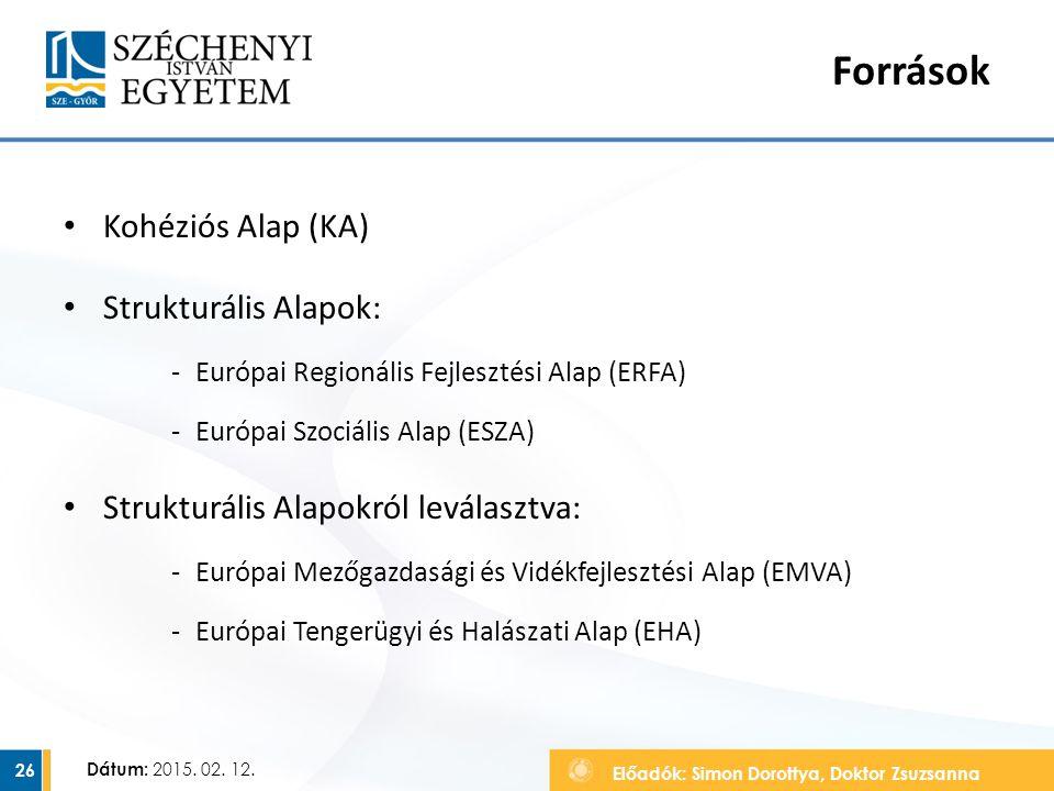 Források Kohéziós Alap (KA) Strukturális Alapok: