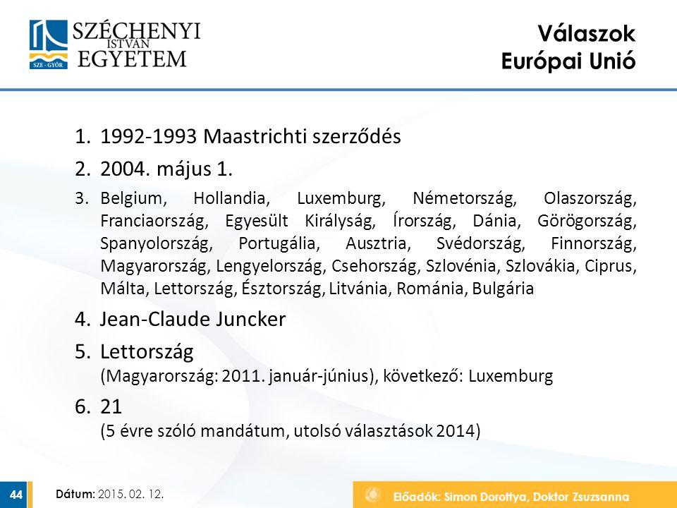 1992-1993 Maastrichti szerződés 2004. május 1.