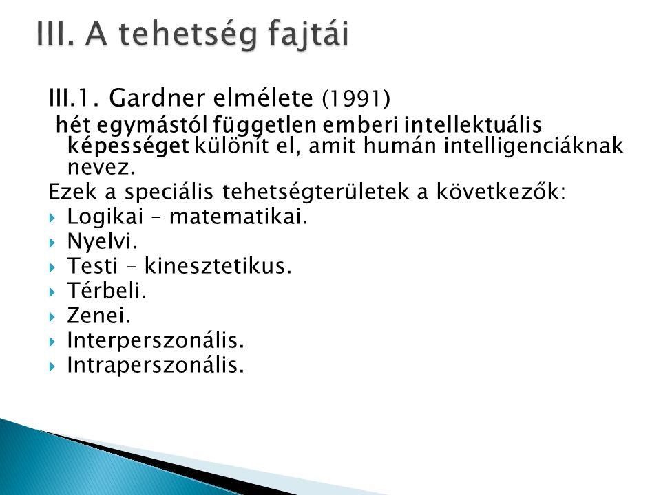 III. A tehetség fajtái III.1. Gardner elmélete (1991)