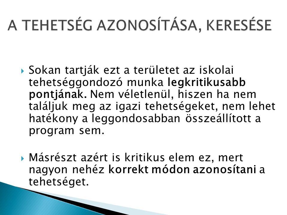 A TEHETSÉG AZONOSÍTÁSA, KERESÉSE
