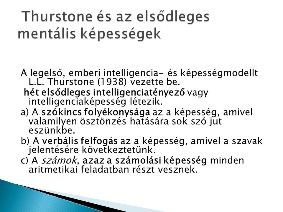 Thurstone és az elsődleges mentális képességek