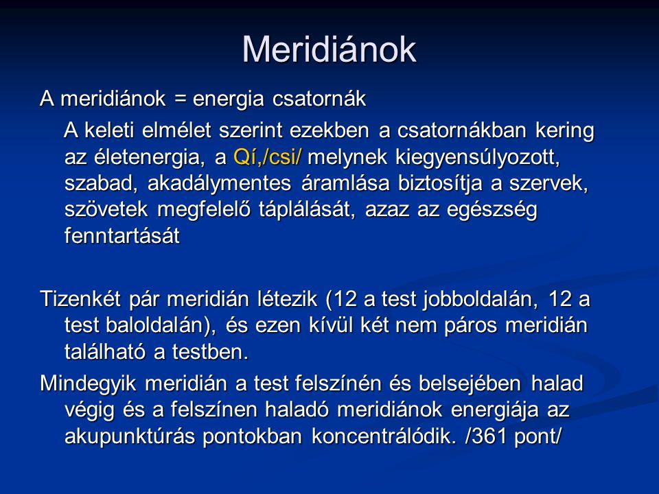 Meridiánok A meridiánok = energia csatornák