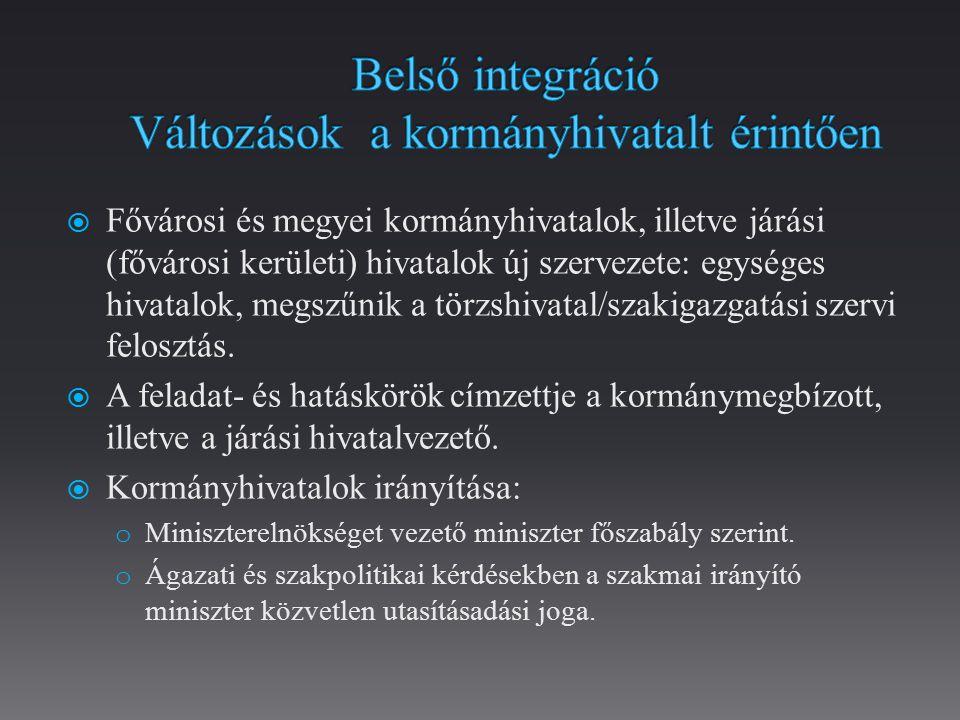 Belső integráció Változások a kormányhivatalt érintően