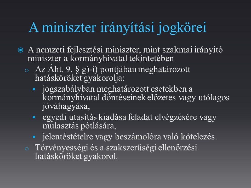 A miniszter irányítási jogkörei