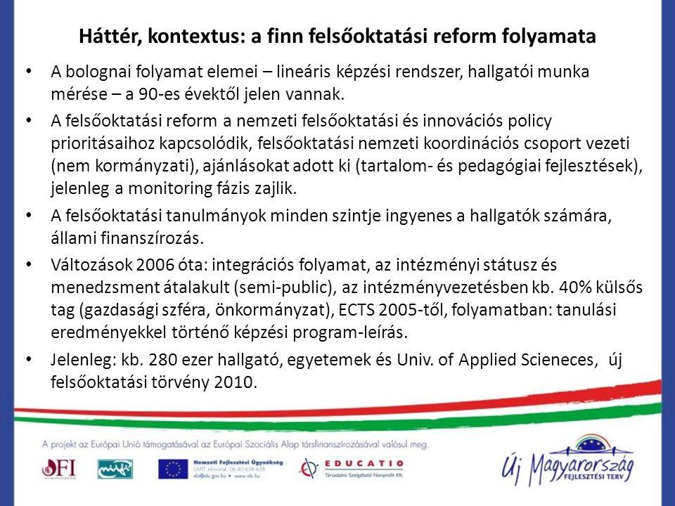 Háttér, kontextus: a finn felsőoktatási reform folyamata