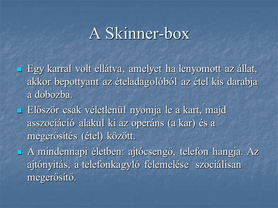 A Skinner-box Egy karral volt ellátva, amelyet ha lenyomott az állat, akkor bepottyant az ételadagolóból az étel kis darabja a dobozba.