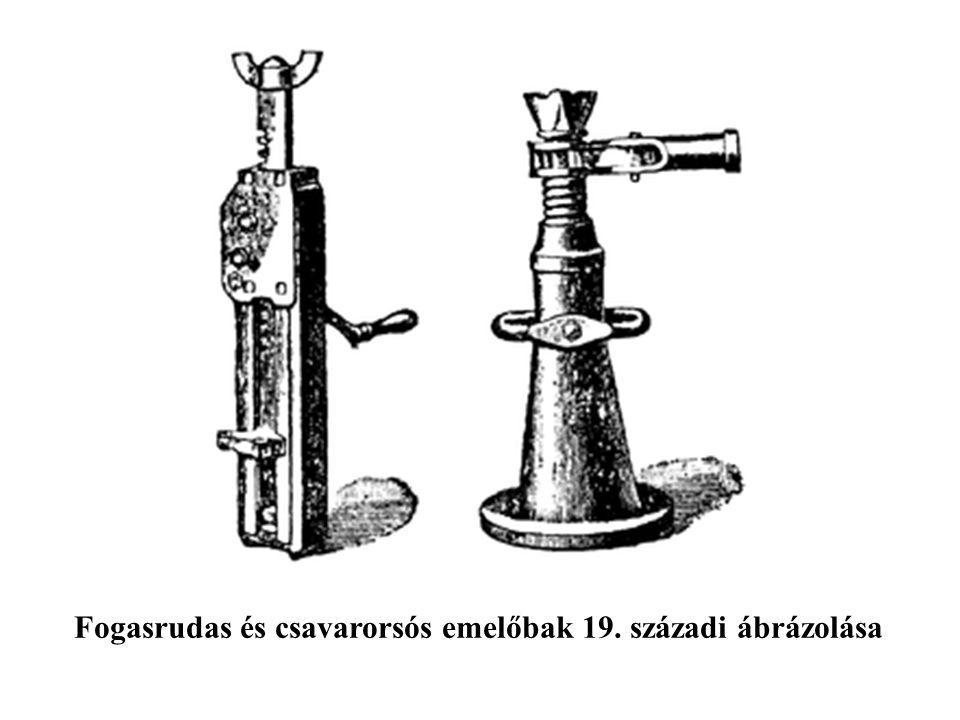 Fogasrudas és csavarorsós emelőbak 19. századi ábrázolása