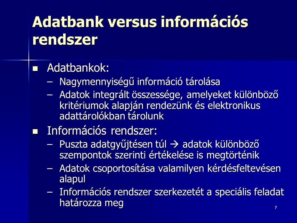 Adatbank versus információs rendszer