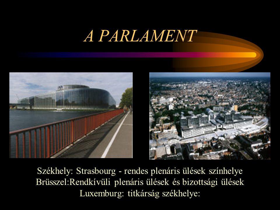 A PARLAMENT Székhely: Strasbourg - rendes plenáris ülések színhelye