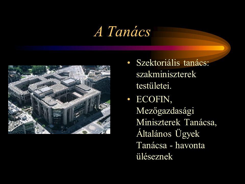 A Tanács Szektoriális tanács: szakminiszterek testületei.