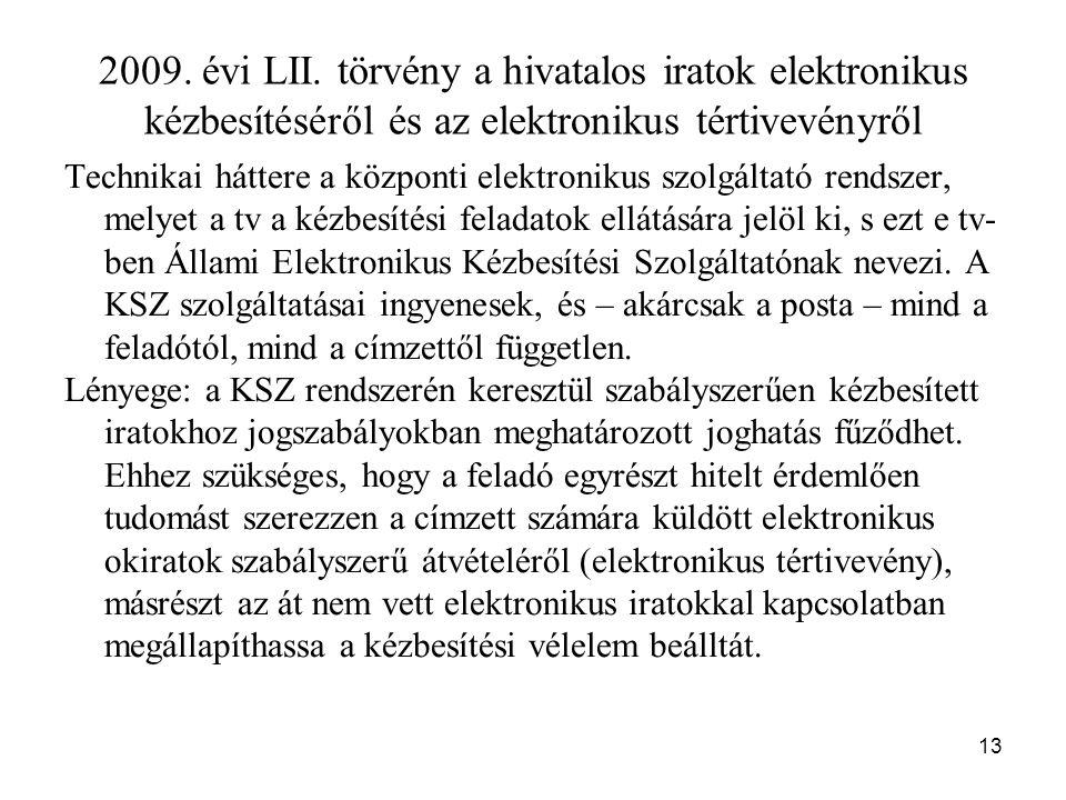 2009. évi LII. törvény a hivatalos iratok elektronikus kézbesítéséről és az elektronikus tértivevényről