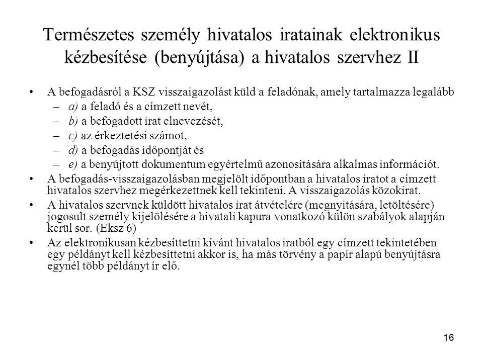 Természetes személy hivatalos iratainak elektronikus kézbesítése (benyújtása) a hivatalos szervhez II