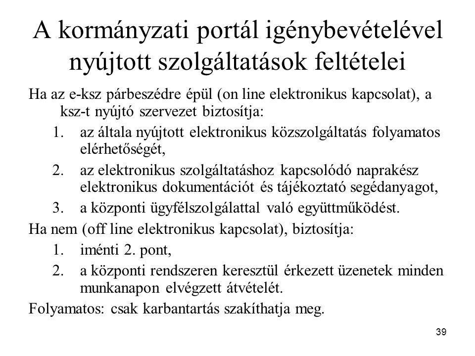 A kormányzati portál igénybevételével nyújtott szolgáltatások feltételei