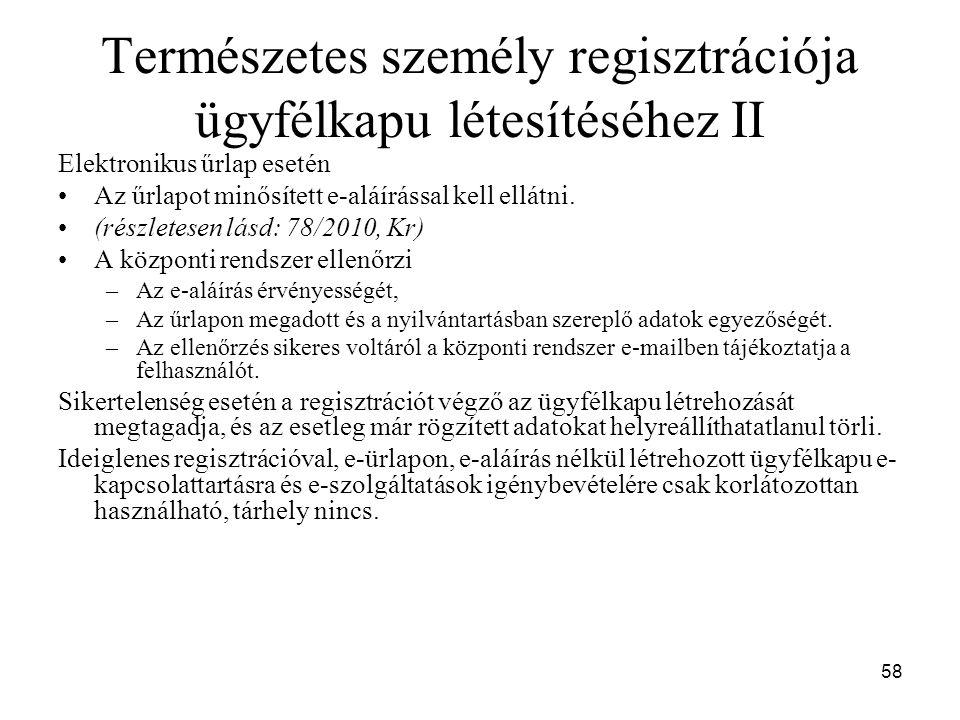 Természetes személy regisztrációja ügyfélkapu létesítéséhez II