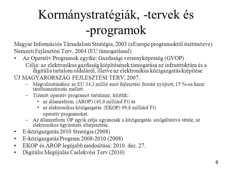 Kormánystratégiák, -tervek és -programok