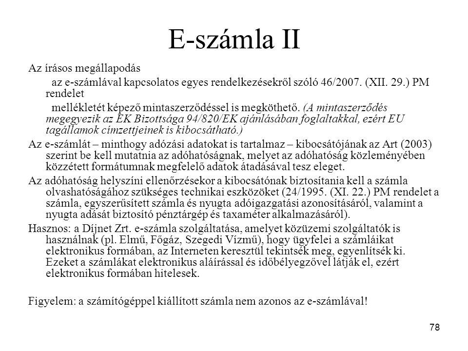 E-számla II Az írásos megállapodás