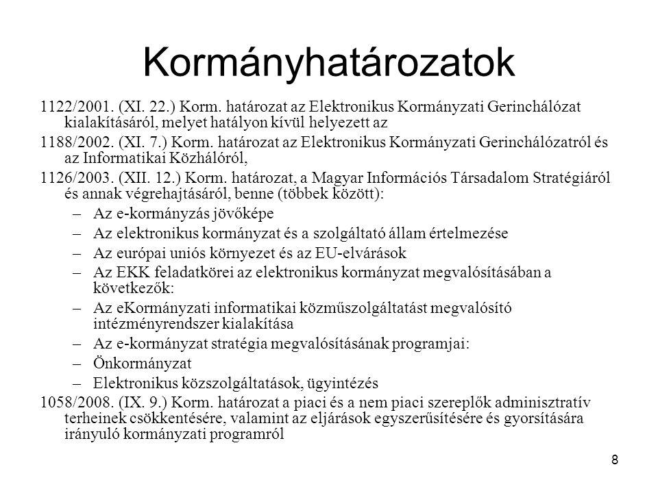 Kormányhatározatok 1122/2001. (XI. 22.) Korm. határozat az Elektronikus Kormányzati Gerinchálózat kialakításáról, melyet hatályon kívül helyezett az.