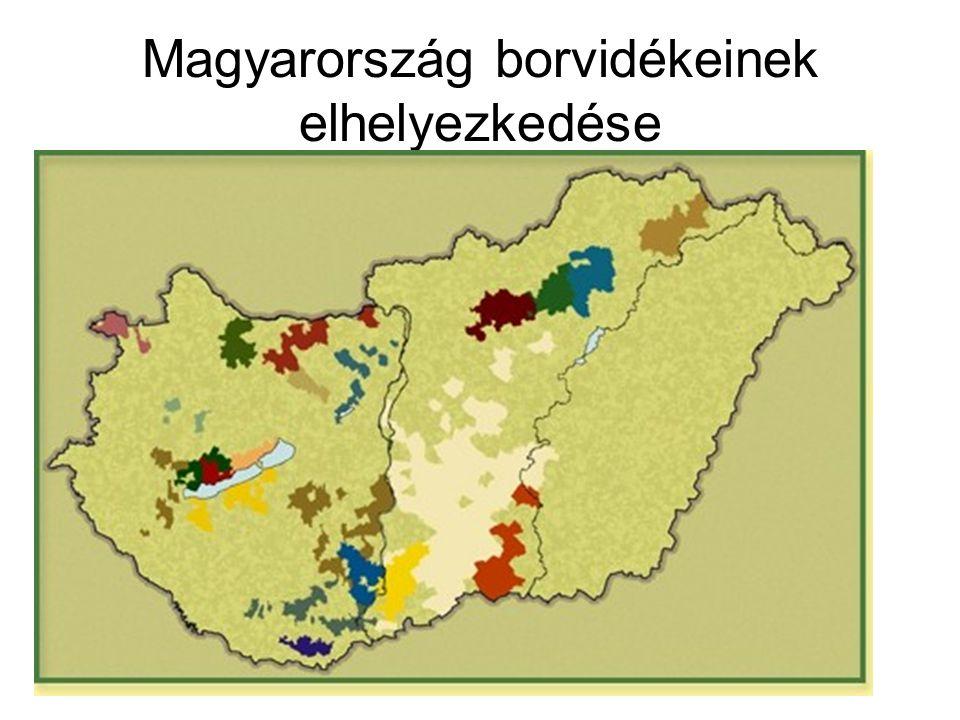 Magyarország borvidékeinek elhelyezkedése