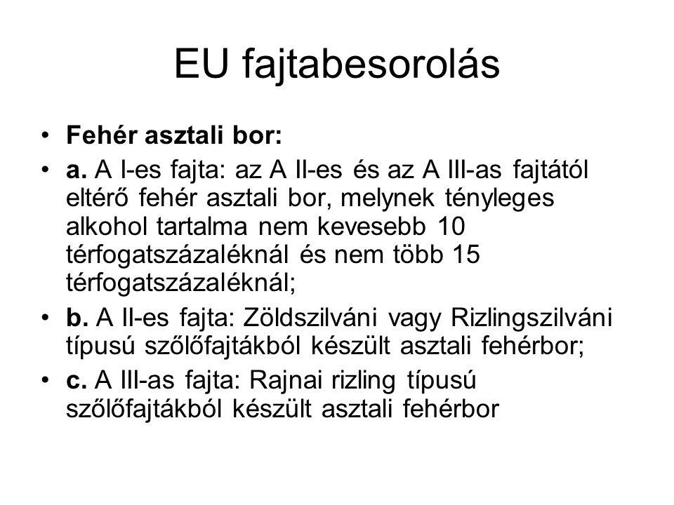 EU fajtabesorolás Fehér asztali bor:
