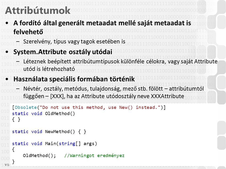 Attribútumok A fordító által generált metaadat mellé saját metaadat is felvehető. Szerelvény, típus vagy tagok esetében is.