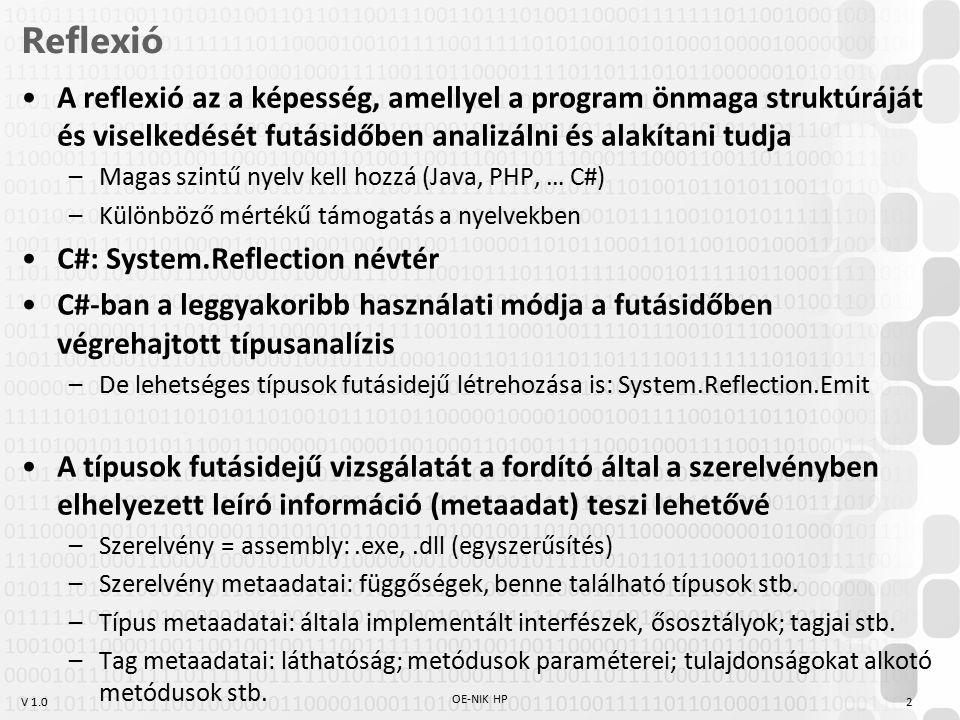 Reflexió A reflexió az a képesség, amellyel a program önmaga struktúráját és viselkedését futásidőben analizálni és alakítani tudja.