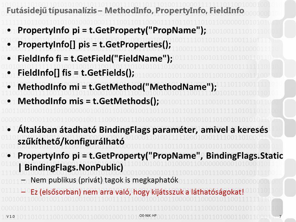 Futásidejű típusanalízis – MethodInfo, PropertyInfo, FieldInfo