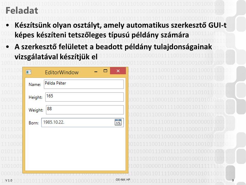 Feladat Készítsünk olyan osztályt, amely automatikus szerkesztő GUI-t képes készíteni tetszőleges típusú példány számára.