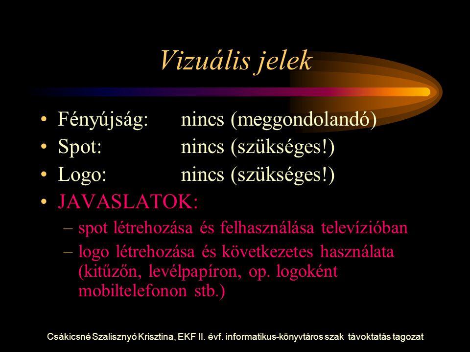 Vizuális jelek Fényújság: nincs (meggondolandó)
